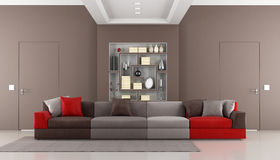 Contemporary brown livingroom Royalty Free Stock Photography
