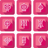 Contemporary Chinese Lanterns design icon set Royalty Free Stock Photos