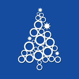 Contemporary Christmas Tree. In white on blue background Stock Photo