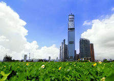 Contemporary City Skyscraper in Hong Kong Royalty Free Stock Image