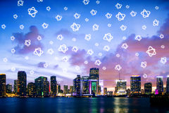 Contemporary city with star icons stock photo