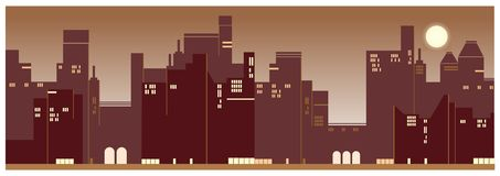 A contemporary city sunset view background stock illustration