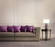 Contemporary Classic Living Room, Beige Leather Sofa Royalty Free Stock Image