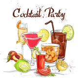 Contemporary Classics Cocktail Set cocktail party. Excellent vector illustration Royalty Free Stock Images