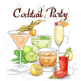 Contemporary Classics Cocktail Set cocktail party. Excellent vector illustration, EPS 10 Stock Photography