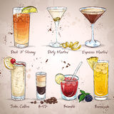 Contemporary Classics Cocktail Set. Excellent vector illustration, EPS 10 Royalty Free Stock Photo