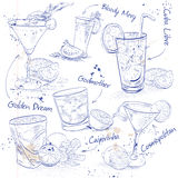 Contemporary Classics Cocktail Set on a notebook. Page, excellent vector illustration, EPS 10 Stock Image