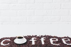 Contemporary coffee wallpaper. Design, addiction, energy and lifestyle concept stock photo
