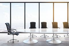 Contemporary concrete meeting room. Interior with panoramic city view, furniture and daylight. 3D Rendering royalty free illustration