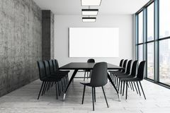 Contemporary conference room with empty poster stock photography