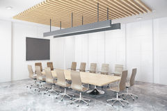 Contemporary conference room side. Contemporary conference room with empty chalkboard. Side view, Mock up, 3D Rendering Royalty Free Stock Photos