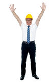 Contemporary construction engineer celebrating his success Stock Photo