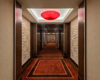 Red Rock Corridor. Contemporary corridor of the Red Rock Hotel on Charleston Blvd in Las Vegas, Nevada Royalty Free Stock Photography