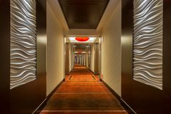 Red Rock Corridor. Contemporary corridor of the Red Rock Hotel on Charleston Blvd in Las Vegas, Nevada Royalty Free Stock Image