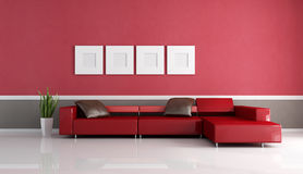 Contemporary couch in minimalist lounge Royalty Free Stock Images