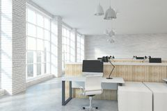 Contemporary coworking office. Contemporary white brick coworking office interior with furniture, equipment and city view with sunlight. 3D Rendering Stock Photos