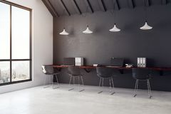 Contemporary coworking office interior with city view Royalty Free Stock Image
