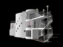 Contemporary 3D House isolated on black Stock Image