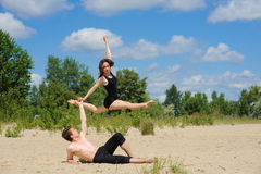 Contemporary dance. Young couple dancing. Royalty Free Stock Images