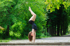 Contemporary dance. Young woman dancing. Royalty Free Stock Images