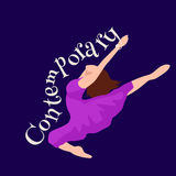 Contemporary dancer, young girl jumping in dance, ballet girl performance, good gymnastic stretching vector illustration Royalty Free Stock Images