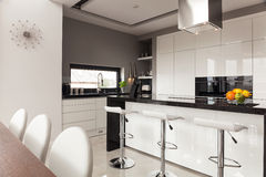Contemporary decor of kitchen Stock Images
