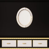 Contemporary decoration shelves and picture frame on black wall, 3d rendered Stock Photography