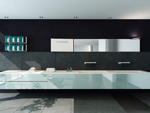 Contemporary design bathroom interior in black color Stock Photos