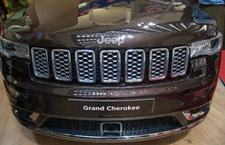 Contemporary design of Jeep Grand Cherokee crossover at the Belgrade Motor Show Stock Photos