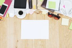 Contemporary desk top with tablet and supplies royalty free stock photos