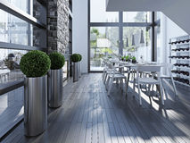 Contemporary dining with fireplace Stock Image