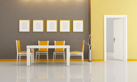 Contemporary dining room. Brown and orange modern dining room - rendering Stock Image