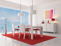Contemporary dining room. White and red modern dining room - rendering -  the art work on wall is a my composition Stock Image