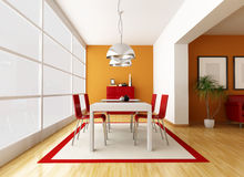 Contemporary dining room. Modern dining room with great window - rendering Stock Photo