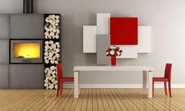 Contemporary dining room. Contemporary dining  room with fireplace - 3D Rendering Stock Images