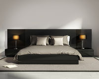 Contemporary elegant luxury black bedroom Royalty Free Stock Photography