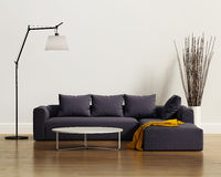 Contemporary elegant luxury purple sofa with cushions royalty free stock images