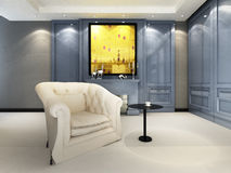 A contemporary elegant sofa. In an interior Royalty Free Stock Image