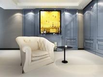 A contemporary elegant sofa. In an interior vector illustration
