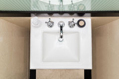 Contemporary and elegant wash basin sink in toilet Stock Photography