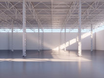 Contemporary empty warehouse interior 3d illustration. Background Stock Image