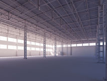 Contemporary empty white warehouse illuminated by sunlight interior 3d illustration Royalty Free Stock Image