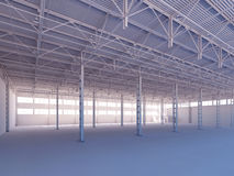 Contemporary empty white warehouse illuminated by sunlight interior 3d illustration. Background vector illustration