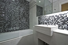 Contemporary en-suite bathroom in black and white Royalty Free Stock Photo