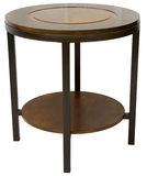 Contemporary End Table. Round Wood and Metal Contemporary End Table Stock Photo