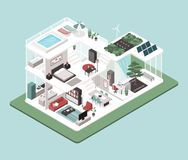 Contemporary energy efficient house interiors. Contemporary energy efficient isometric eco house cross section, room interiors, solar panels and zen garden royalty free illustration
