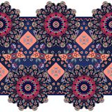 Contemporary ethnic seamless pattern with flowers mandalas. Beautiful embroidery Stock Photography
