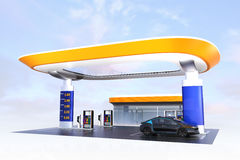 Contemporary EV charging station and gas station design for new energy supply concept. 3D rendering image Royalty Free Stock Photography