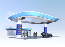 Contemporary EV charging station and gas station design for new energy supply concept Royalty Free Stock Photography
