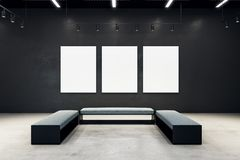 Contemporary exhibition hall with empty poster. And bench. Gallery, art, exhibit and museum concept. Mock up, 3D Rendering Royalty Free Stock Photography